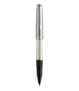 WATERMAN Embleme Rollerball, Ivory, Chrome trims, fine Point, Black ink Refill - Gift Boxed
