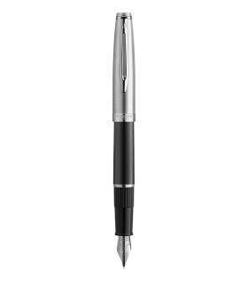 WATERMAN Embleme Fountain Pen, Black barrel, Chrome trims, fine Nib - Gift Boxed