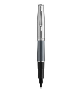 WATERMAN Embleme Deluxe Rollerball, Grey barrel, Chrome trims, fine Point, Black ink Refill - Gift Boxed