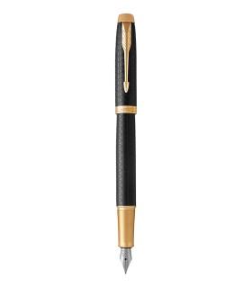 PARKER IM Premium - Fountain Pen, Black Lacquer, Gold Trims, medium Nib - Giftbox