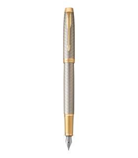 PARKER IM Premium - Fountain Pen, Warm Silver, Gold trims, fine Nib - Giftbox